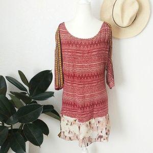 Gimmicks BKE tribal Embroidered Boho Tunic Top